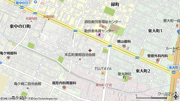 山形県酒田市末広町8周辺の地図