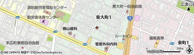 山形県酒田市東大町1丁目周辺の地図