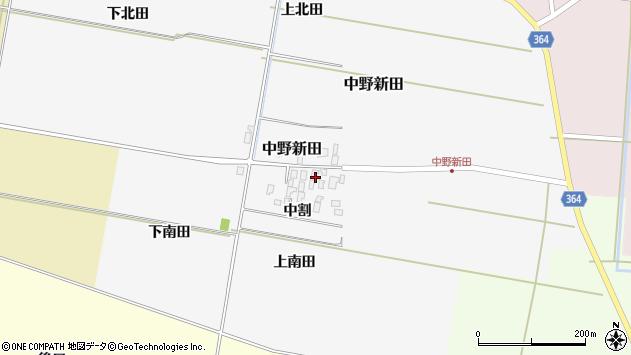 山形県酒田市中野新田中割周辺の地図
