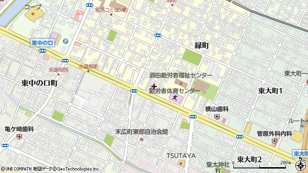 山形県酒田市緑町18周辺の地図