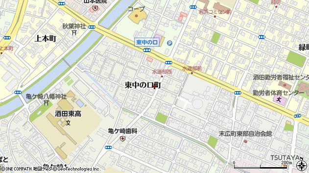 山形県酒田市東中の口町周辺の地図