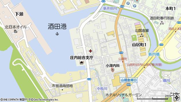 山形県酒田市山居町周辺の地図