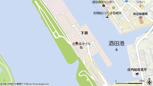 山形県酒田市下瀬周辺の地図