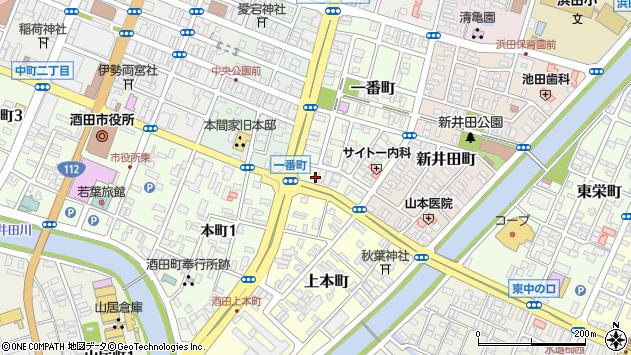 山形県酒田市一番町13周辺の地図