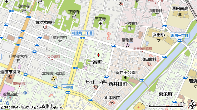 山形県酒田市一番町5周辺の地図