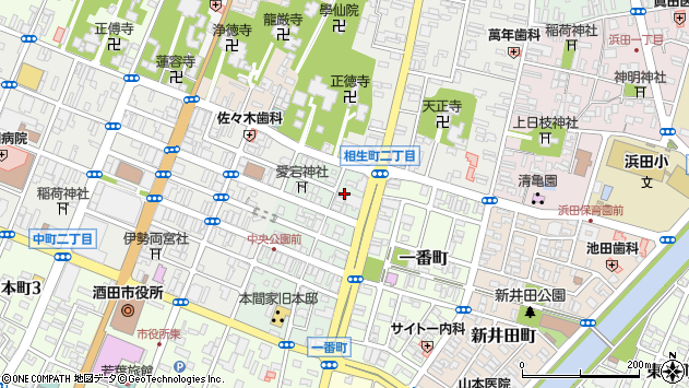 山形県酒田市二番町1周辺の地図
