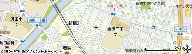 山形県酒田市新橋3丁目周辺の地図