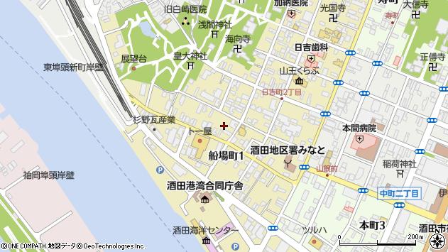 山形県酒田市船場町1丁目周辺の地図