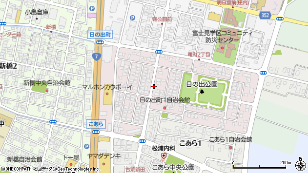 山形県酒田市日の出町周辺の地図