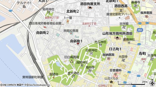 山形県酒田市南新町1丁目周辺の地図