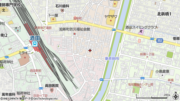 山形県酒田市旭新町6周辺の地図