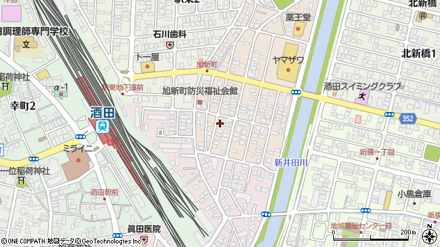 山形県酒田市旭新町5周辺の地図