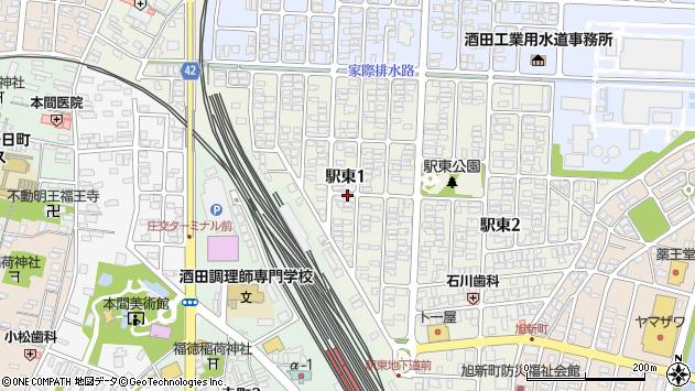 山形県酒田市駅東周辺の地図