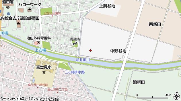 山形県酒田市吉田新田中野谷地周辺の地図