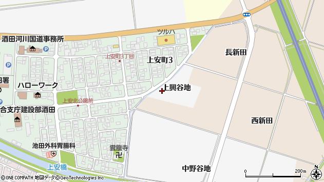 山形県酒田市吉田新田上興谷地周辺の地図
