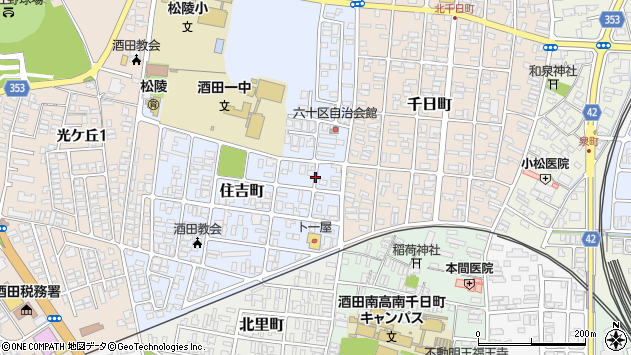 山形県酒田市住吉町4周辺の地図