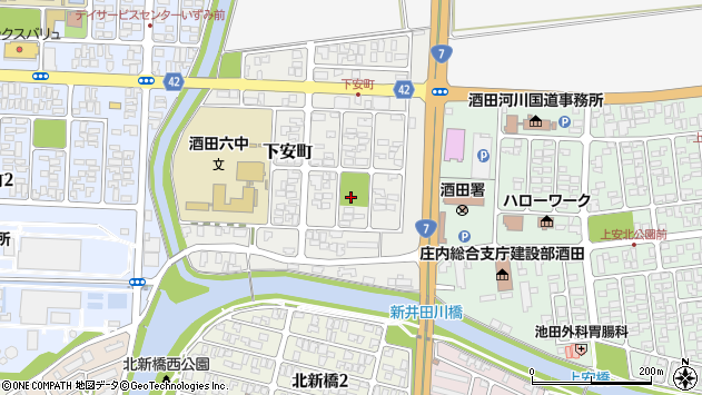 山形県酒田市下安町8周辺の地図