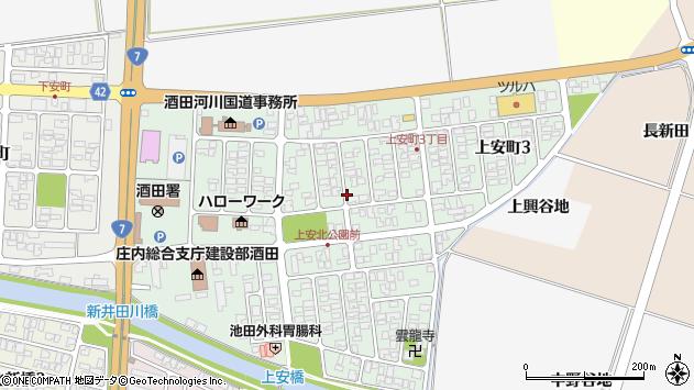 山形県酒田市上安町周辺の地図