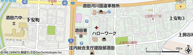 山形県酒田市上安町1丁目周辺の地図
