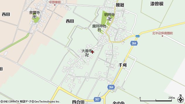 山形県酒田市漆曽根四合田周辺の地図
