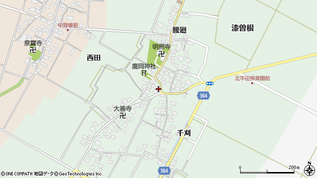 山形県酒田市漆曽根腰廻9周辺の地図