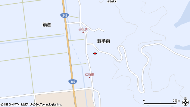 山形県酒田市北沢野手南45周辺の地図