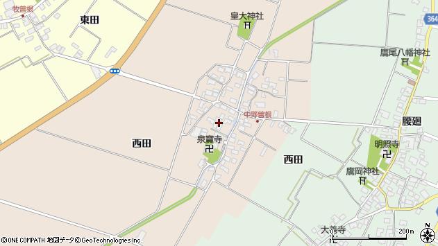 山形県酒田市中野曽根周辺の地図