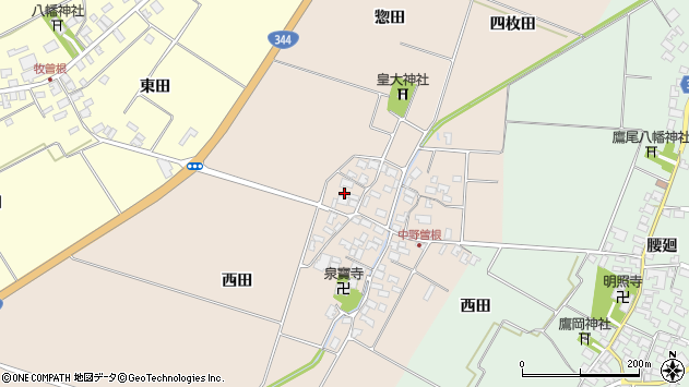 山形県酒田市中野曽根西田77周辺の地図