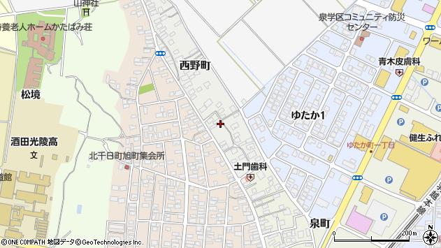 山形県酒田市西野町周辺の地図