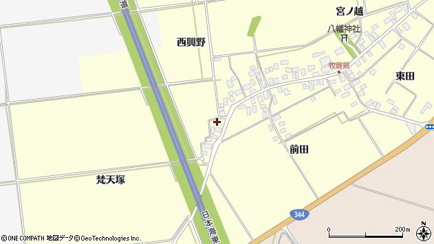 山形県酒田市牧曽根梵天塚周辺の地図