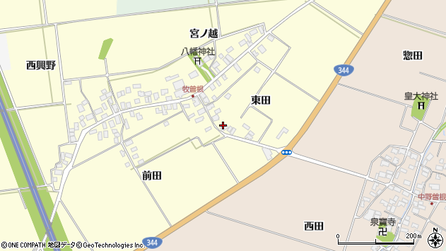 山形県酒田市牧曽根東田29周辺の地図