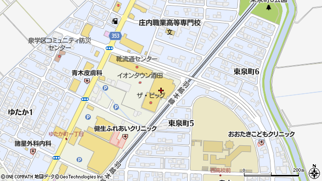 山形県酒田市泉町214周辺の地図