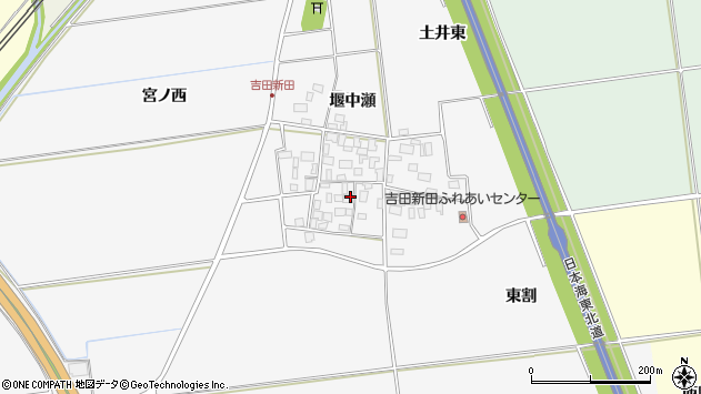 山形県酒田市吉田新田堰中瀬9周辺の地図
