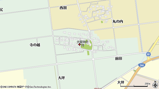 山形県酒田市鶴田寺の越7周辺の地図