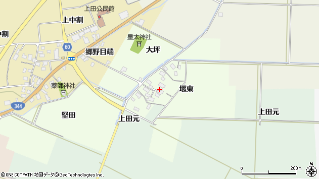 山形県酒田市上興野堰東22周辺の地図