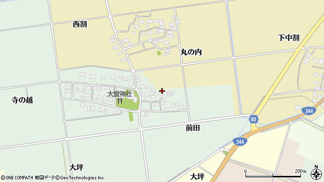 山形県酒田市鶴田寺の越36周辺の地図