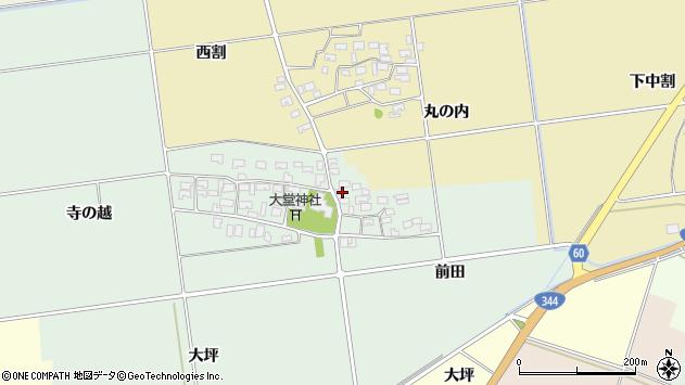 山形県酒田市鶴田寺の越32周辺の地図