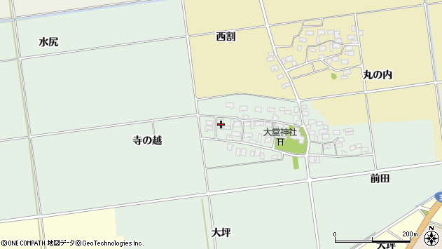 山形県酒田市鶴田寺の越21周辺の地図