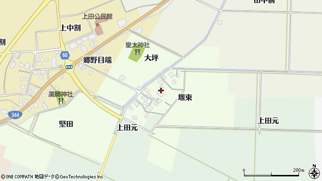 山形県酒田市上興野堰東33周辺の地図
