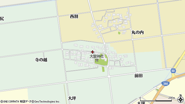 山形県酒田市鶴田寺の越6周辺の地図