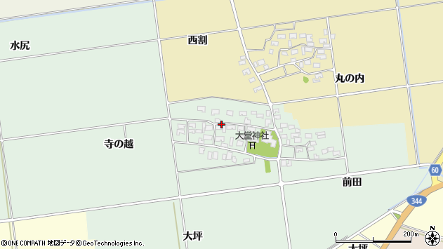 山形県酒田市鶴田寺の越12周辺の地図