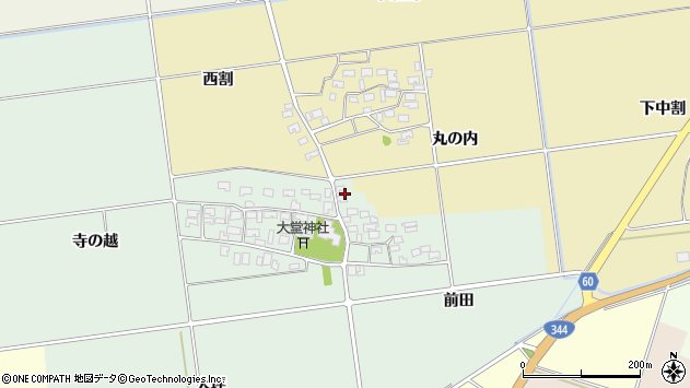 山形県酒田市鶴田寺の越52周辺の地図