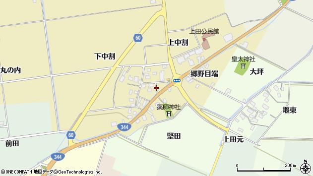 山形県酒田市上野曽根上中割118周辺の地図