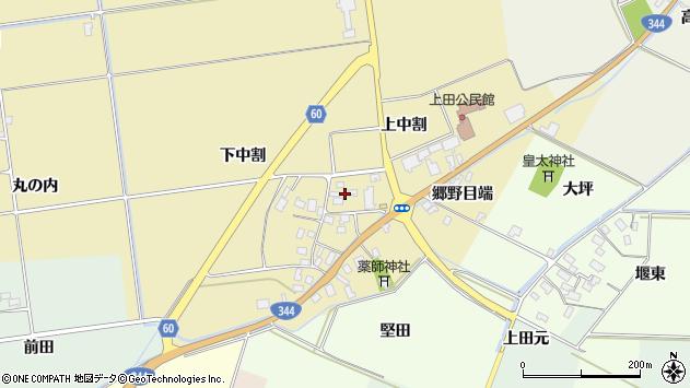 山形県酒田市上野曽根上中割119周辺の地図