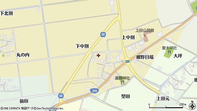 山形県酒田市上野曽根下中割12周辺の地図