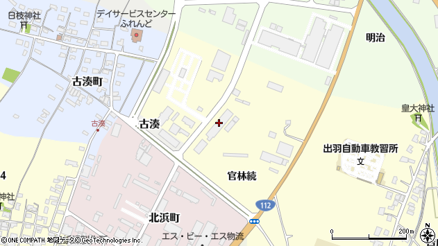 山形県酒田市高砂官林続10周辺の地図