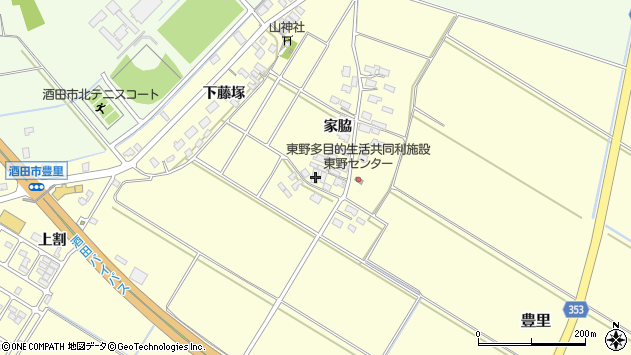 山形県酒田市豊里家脇46周辺の地図