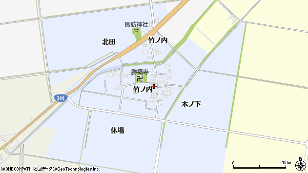 山形県酒田市上安田竹ノ内16周辺の地図