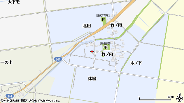 山形県酒田市上安田竹ノ内44周辺の地図