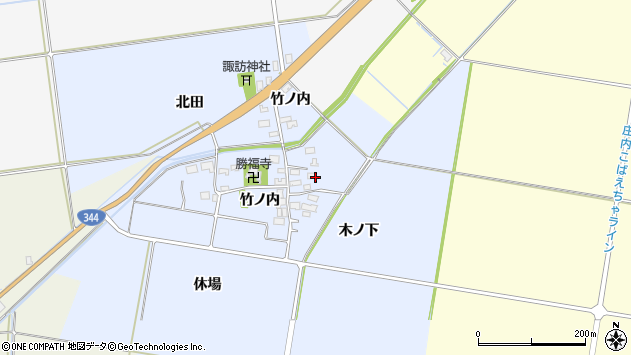山形県酒田市上安田竹ノ内5周辺の地図